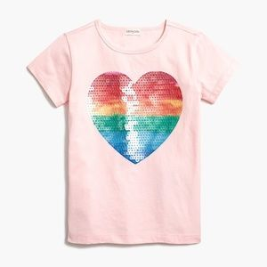 NWT, J. Crew Girls sequin painted heart tee, Sz 14